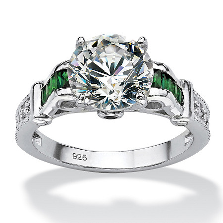 4.19 TCW Round Cubic Zirconia and Simulated Emerald Ring at PalmBeach Jewelry