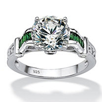 4.19 TCW Round Cubic Zirconia and Simulated Emerald Ring in Platinum over Sterling Silver