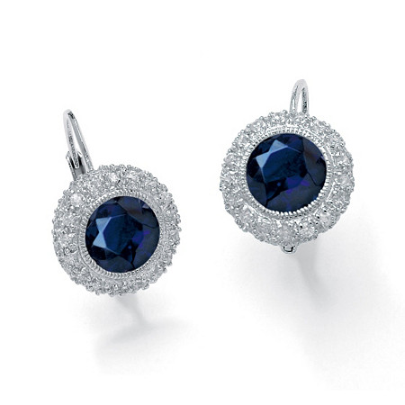 5.52 TCW Round Sapphire Halo Drop Earrings in Platinum over Sterling Silver at PalmBeach Jewelry