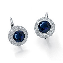 SETA JEWELRY 5.52 TCW Round Sapphire Halo Drop Earrings in Platinum over Sterling Silver