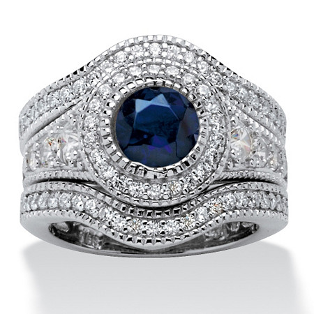 2.83 TCW Cubic Zirconia and Simulated Sapphire 3-Piece Bridal Set in Platinum over Sterling Silver at PalmBeach Jewelry