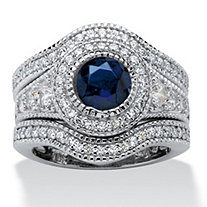 SETA JEWELRY 2.83 TCW Cubic Zirconia and Created Sapphire 3-Piece Bridal Set in Platinum over Sterling Silver