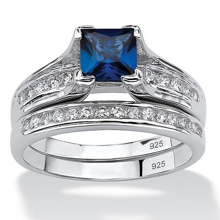 1.44 TCW Created Blue Sapphire CZ Platinum over Sterling Silver 2-Piece Bridal Set at PalmBeach Jewelry