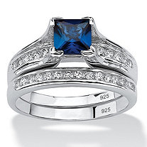 SETA JEWELRY 1.44 TCW Created Blue Sapphire CZ Platinum over Sterling Silver 2-Piece Bridal Set