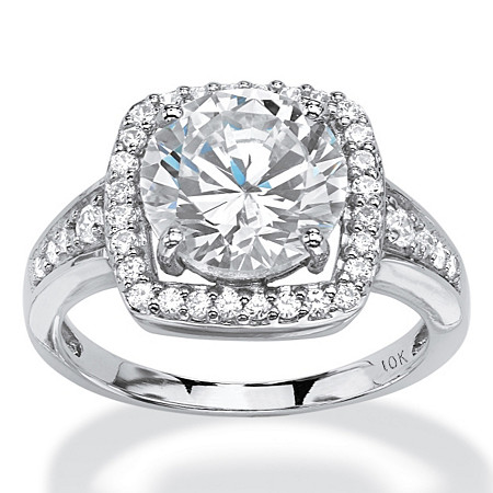 3.32 TWC Round Cubic Zirconia Halo Ring Set in 10k White Gold at PalmBeach Jewelry