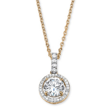 2.25 TCW Cubic Zirconia Floating Halo Necklace in 14k Gold Over Sterling Silver at PalmBeach Jewelry
