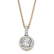 2.25 TCW Cubic Zirconia Floating Halo Necklace in 14k Gold Over Sterling Silver