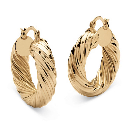 "Twist Hoop Earrings Gold Tone (1 1/2"") at PalmBeach Jewelry"