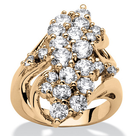 3.44 TCW Cubic Zirconia Cluster Wave Ring 14k Gold-Plated at PalmBeach Jewelry