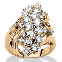 3.44 TCW Cubic Zirconia Cluster Wave Ring 14k Gold-Plated