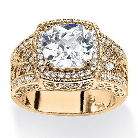 3.27 TCW Cushion-Cut Cubic Zirconia Cocktail Ring 14k Gold-Plated at PalmBeach Jewelry