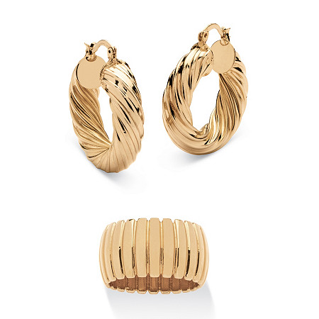 "Section Dome Ring and Hoop Earrings Set in Gold Tone (1 1/2"") at PalmBeach Jewelry"