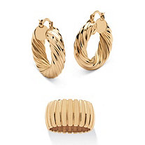 "Section Dome Ring and Hoop Earrings Set in Gold Tone (1 1/2"")"