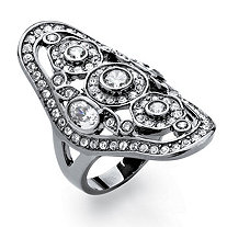 1.75 TCW Round Cubic Zirconia Vintage-Style Cocktail Ring Black Ruthenium-Plated