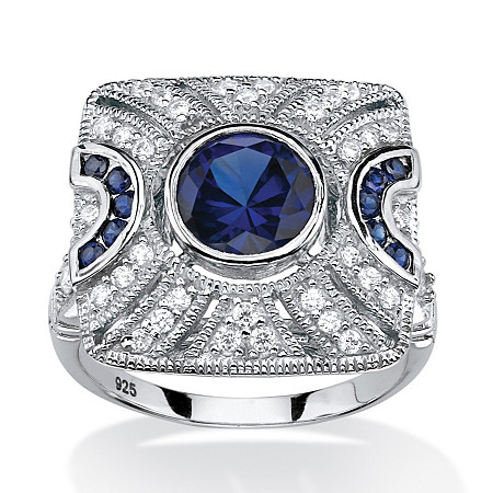 3.19 TCW Created Blue Sapphire and Cubic Zirconia Cocktail Ring in Platinum over Sterling Silver at PalmBeach Jewelry