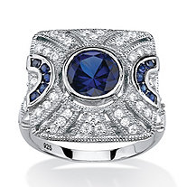 SETA JEWELRY 3.19 TCW Created Blue Sapphire and Cubic Zirconia Cocktail Ring in Platinum over Sterling Silver