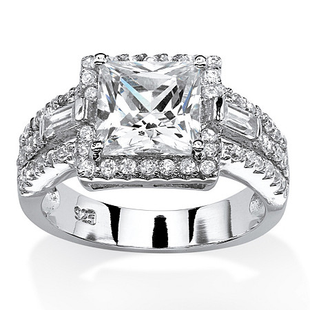 2.85 TCW Princess-Cut Cubic Zirconia Halo Ring in Platinum Over .925 Sterling Silver at PalmBeach Jewelry