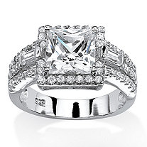 2.85 TCW Princess-Cut Cubic Zirconia Halo Ring in Platinum Over .925 Sterling Silver