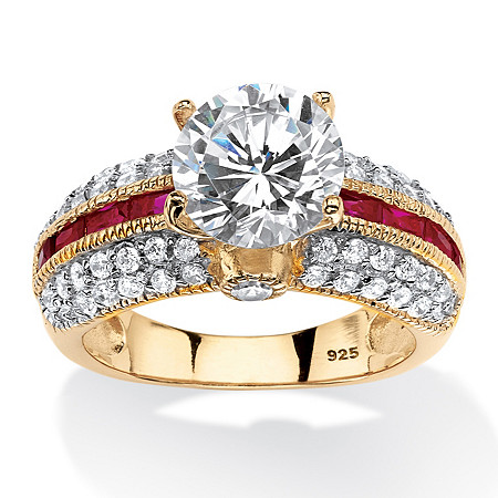 5.51 TCW Round Cubic Zirconia and Created Ruby Ring in 14k Gold Over .925 Sterling Silver at PalmBeach Jewelry