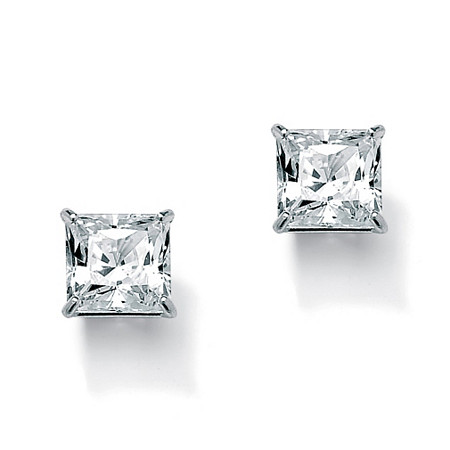 Princess-Cut Cubic Zirconia Stud Earrings 3.24 TCW Rhodium-Plated at PalmBeach Jewelry
