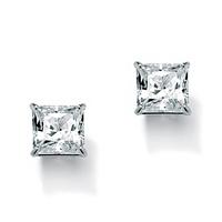 Princess-Cut Cubic Zirconia Stud Earrings