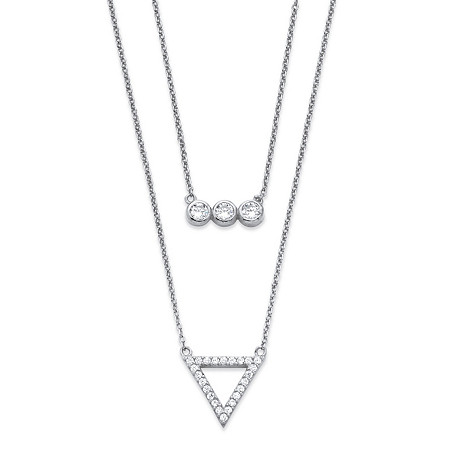 .52 TCW Cubic Zirconia Geometric Double Strand Necklace in Rhodium-Plated .925 Sterling Silver at PalmBeach Jewelry