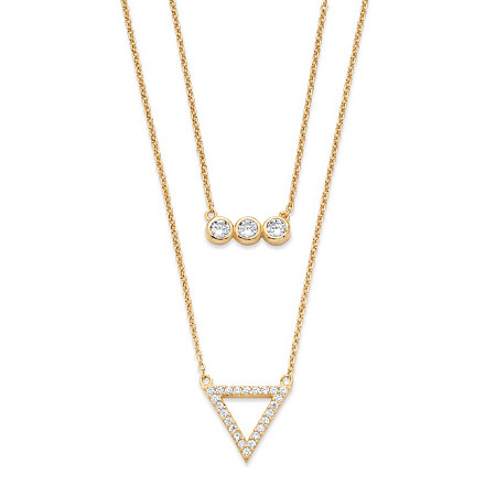 .52 TCW Cubic Zirconia Geometric Double Strand Necklace in 14k Gold Over .925 Sterling Silver at PalmBeach Jewelry