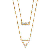 .52 TCW Cubic Zirconia Geometric Double Strand Necklace in 14k Gold Over .925 Sterling Silver