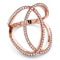 SETA JEWELRY .50 TCW Round Cubic Zirconia Interlocking Loop Cocktail Ring in Rose Gold over .925 Sterling Silver