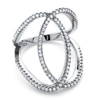 Cubic Zirconia Interlocking Loop Cocktail Ring In Platinum Over Sterling Silver ONLY $11.95