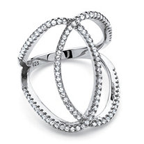 .50 TCW Cubic Zirconia Interlocking Loop Cocktail Ring in Platinum Over Sterling Silver