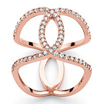 SETA JEWELRY .47 TCW Round White Cubic Zirconia Interlocking Loop Mirror Image Ring in Rose Gold over Sterling Silver