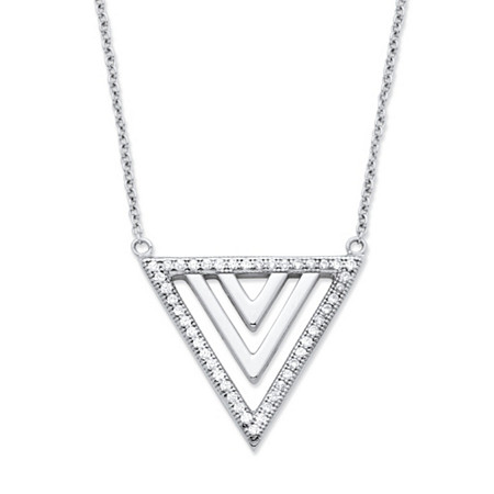 .23 TCW Cubic Zirconia Triangle Pendant Necklace in Platinum over .925 Sterling Silver at PalmBeach Jewelry