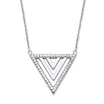 SETA JEWELRY .23 TCW Cubic Zirconia Triangle Pendant Necklace in Platinum over .925 Sterling Silver