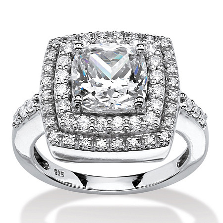 2.23 TCW Cushion-Cut Cubic Zirconia Double Halo Ring in Platinum Over .925 Sterling Silver at PalmBeach Jewelry