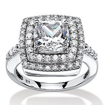 2.23 TCW Cushion-Cut Cubic Zirconia Double Halo Ring in Platinum Over .925 Sterling Silver
