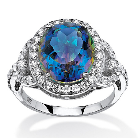 4.92 TCW Oval-Cut Mystic Quartz and CZ Halo Cocktail Ring in Platinum over .925 Sterling Silver at PalmBeach Jewelry