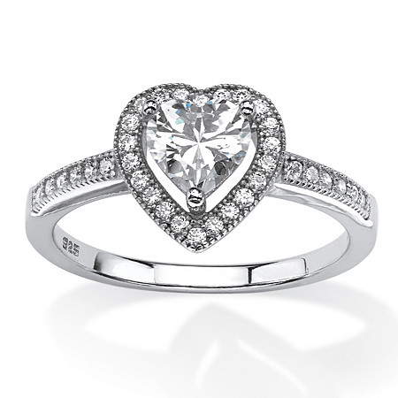 1.02 TCW Heart-Cut Cubic Zirconia Floating Halo Ring in Platinum over Sterling Silver at PalmBeach Jewelry