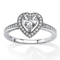 1.02 TCW Heart-Cut Cubic Zirconia Floating Halo Ring in Platinum over Sterling Silver