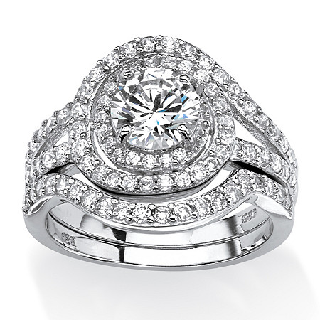 2.55 TCW Round Cubic Zirconia Wrap Around Halo Bridal Set in Platinum Over .925 Sterling Silver at PalmBeach Jewelry