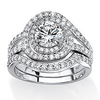 2.55 TCW Round Cubic Zirconia Wrap Around Halo Bridal Set in Platinum Over .925 Sterling Silver