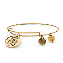 Mother Charm Bangle Bracelet in Antique Gold Tone