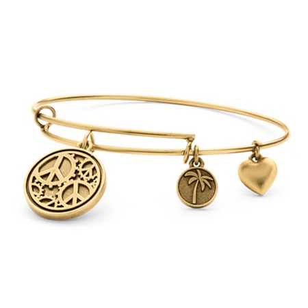 Peace Charm Bangle Bracelet in Antique Gold Tone at PalmBeach Jewelry