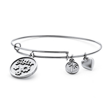 Sister Charm Expandable Bangle Bracelet in Antiqued Silvertone at PalmBeach Jewelry