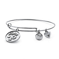 SETA JEWELRY Sister Charm Expandable Bangle Bracelet in Antiqued Silvertone