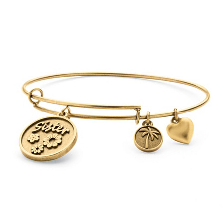 Sister Charm Bangle Bracelet in Antique Gold Tone at PalmBeach Jewelry