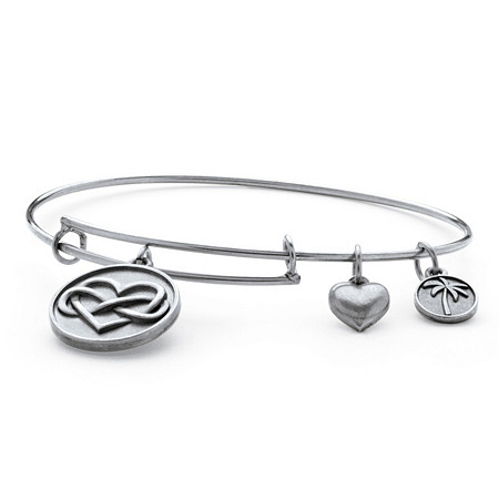 Infinity Heart Charm Bangle Bracelet in Antique Silvertone 7
