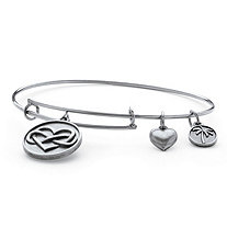 "Infinity Heart Charm Bangle Bracelet in Antique Silvertone 7""-9"""