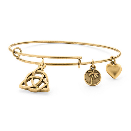 Celtic Knot Charm Bangle Bracelet in Antique Gold Tone at PalmBeach Jewelry