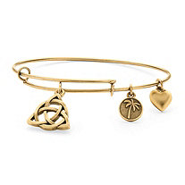 Celtic Knot Charm Bangle Bracelet in Antique Gold Tone